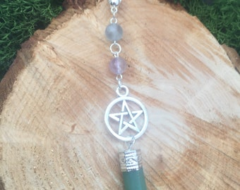 Crystal Necklace, Crystal Pendant, Crystal Point Necklace, Crystal Choker, Crystal Pendant Necklace, Crystal Pendulum, Aventurine necklace