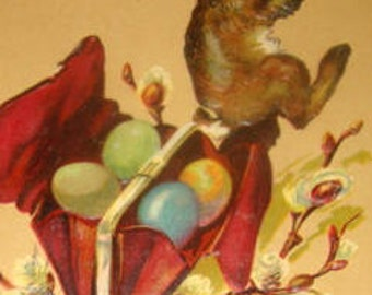 SALE Vintage Easter Postcard, Rabbit with Colored Eggs