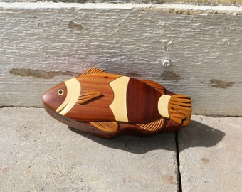 Vintage Hand-Carved Fish Puzzle Box