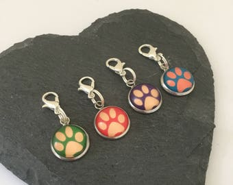 Small paw print pet collar charm / cat collar charm / dog collar charm / pet jewellery / pet owner gift / animal lover gift