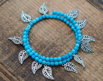Two Layer Blue Distressed Memory Wire Bracelet with Leaves