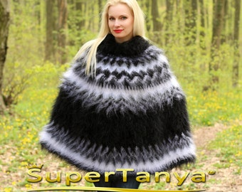 Made to order thick and fuzzy hand knit mohair sweater poncho in black by SuperTanya