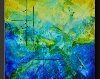 Fusion - 18 x 18 - Abstract Acrylic Painting - Contemporary Wall Art