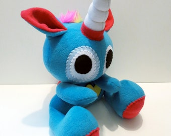 Rowdy One Horn - Jumbo aqua plush unicorn with rainbow mohawk