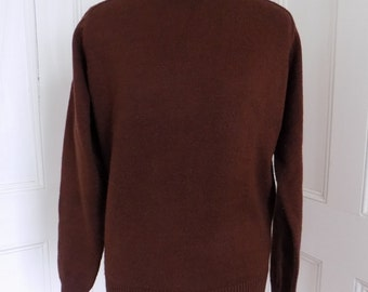 Vintage Chocolate Brown Pullover Knit Sweater Jumper 80s