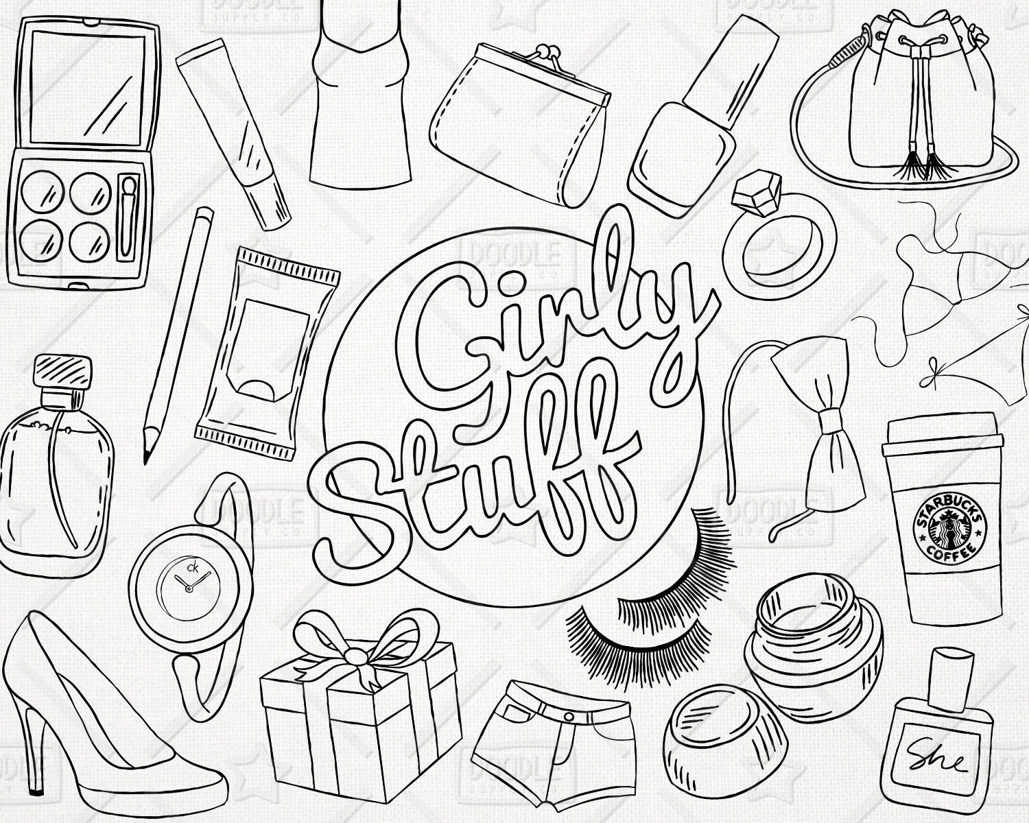 Doodle Girly Stuff Vector Pack, Girly Things, Girly