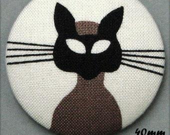 Fabric - cat - cat Mistigri covered button