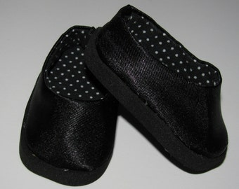 Black satin ballet flats shoes for Corolle Les Cheries or Hearts for Hearts Girls
