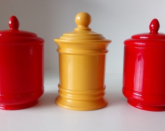 Retro Emsa Containers Canisters Kitchen Storage Red Yellow West-Germany Set of Three