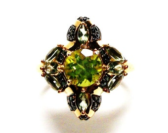 "Peridot ring, peridot accent ring, peridot cocktail ring, statement ring, green s 6   ""Midnight at the oasis"""