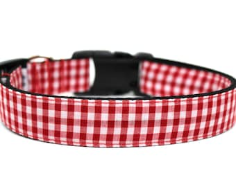 "Gingham Dog Collar 3/4"" or 1"" Summer Dog Collar Picnic Dog Collar"
