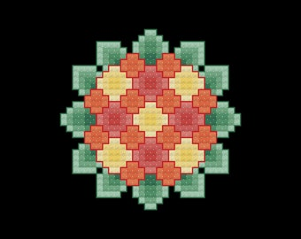 Orange and Yellow Bouquet Cross Stitch Pattern PDF Digital Download