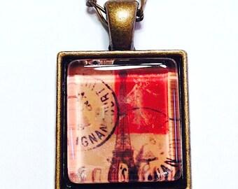 Eiffel Tower Glass Art Pendant Necklace, Paris Postage Stamp Necklace