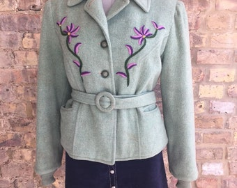1940'S Embroidered Belted Coat