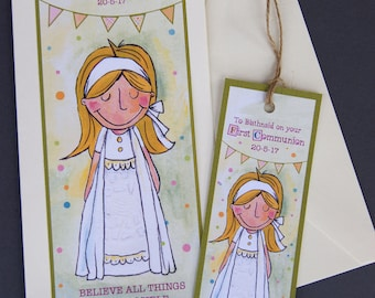 Girls First Communion Card with Personalised Bookmark, Holy Communion Card for Little Girl, First Holy Communion Personalised Card