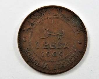 Italian Somaliland 1909 R One Besa Coin.