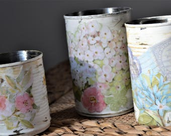 DECOUPAGE STORAGE CANS Pink Blue Floral Cans Desk Bathroom Kitchen Storage