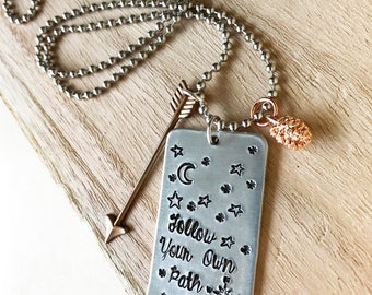 Follow your own Path, Hand Stamped Necklace, Woodland Necklace, tree necklace,Moon Necklace, Inspirational necklace, compass, jewelry