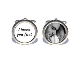 Mens Personalised Wedding Wedding Day Custom Photograph Image Cufflinks 'I Loved you First' - Personalised Engraved Gift Box Available