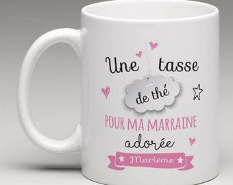 """""""A cup of tea for my godmother"""" personalised mug"""