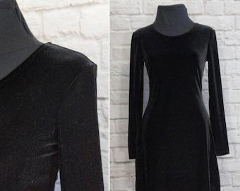 90s Black Velvet Dress Long Sleeve Vintage Babydoll Dress Short Size Small My Michelle