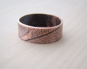 Engraved Personalized wedding Band  ring, texture ring, leaf ring, nature ring, leaf, man jewelry, men ring, mens ring