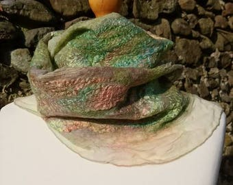 Handmade, hand dyed Nuno felt merino wool and silk scarf. Soft and silky, green colour. Summer scarf.