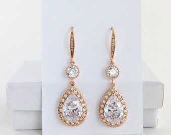 Rose Gold Bridal Drop Earrings Rose Gold Crystal Earrings Rose Gold Wedding Earrings Rose Gold Bridal Earrings Rose Gold Bridesmaid Jewelry