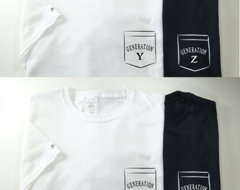 T-shirt,GENERATION X, Y, Z, BOOMERS, ALPHA, White, Black, adult, junior, toddler