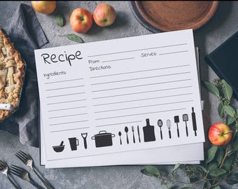 Recipe Cards Printable - 4x6 Recipe Card, Kitchen Utensils