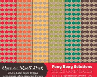 Ogee Pattern on Kraft Digital Paper Pack: set of 6 digital papers in red, yellow, brown, orange, teal, and green  Instant Download