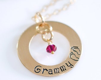 """Grammy Necklace - 1"""" Hand Stamped Gold Filled Donut, Birthstone Crystals, Stamped Baby Feet, Sterling Silver"""