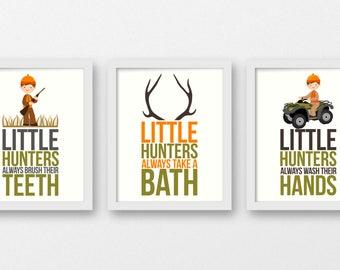 Little Hunters Bathroom Rules, Deer Antlers Print, Deer Nursery Decor, Bathroom Signs, Little Hunters decor, Hunting Fishing Nursery, B-3103