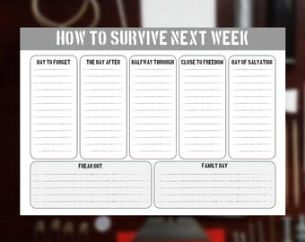 How to survive next Week - Weekly Planner A3 - Writing pad - Printable