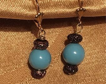 Swarovski Turquoise Pearl Earrings