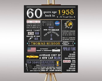 60th Birthday 1958 Chalkboard Poster Sign, What Happened in 1958,Personalized Digital Printable File,60 Years Ago in 1958,60th Birthday Gift