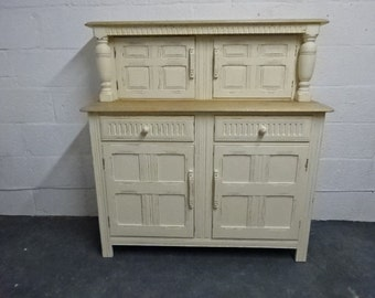 Upcycled Oak Court Cupboard / Handpainted / Kitchen / Dining Room / Furniture / Painted Furniture / Buffet Server /