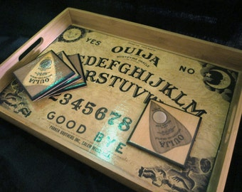 Ouija Board Wooden Serving Tray with Planchette Coasters