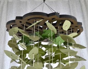 Green Leaf Dahlia Mobile Paper Sculpture