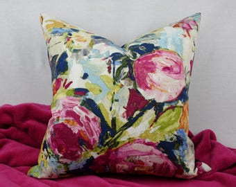Pink, Navy, Blue, Green, and Yellow Watercolor Floral Cotton Decorative Pillow Cover, Denim on Back, Concealed Zipper Closure