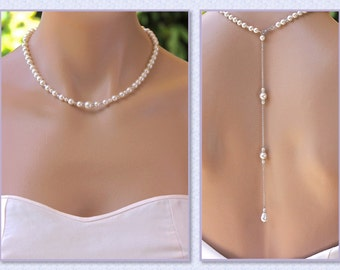Pearl Back Drop Necklace, Pearl Necklace, Pearl Bridal Necklace, Back Necklace, Bridal jewelry