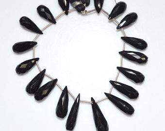 """194.5 Ct.1 Strand Natural Black Spinel Faceted Tear Drop Beads - Black Spinel Briolette , 15x8 - 26x8.5 mm , 7"""" , BL1637"""