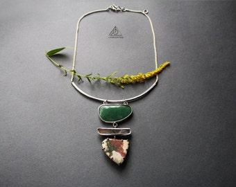 Jasper, green aventurine, prehnite statement bib necklace in Tiffany technique. Tin gemstone necklace pendant. Green stone Chocker