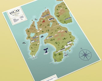 The Islay and Jura Whisky Map (A3 print)