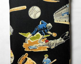 Fabric -2 yard piece -Baseball/realistic/ball park/stadium/baseball/bat/run/catcher/pitcher/wooden bat/glove/black background  (#281)
