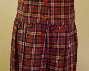 Girls Jumper/Sailor Sundress - Red/White/Royal/Green Plaid - Sizes  7 and 8