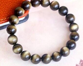 Natural Golden Sheen Obsidian Gemstone Beaded  Bracelet 8mm 10mm 12mm available