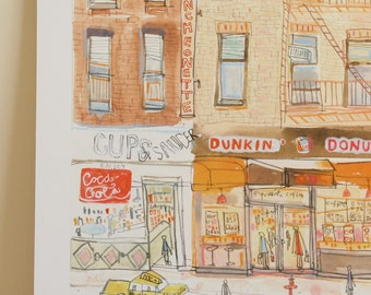 NEW YORK Shop Fronts Art City Print, NYC Taxis, Manhattan Watercolor Painting, Signed Limited Edition, Dunkin Donuts New York Diner Drawing