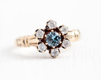 Antique Gemstone Ring - 10k Rosy Yellow Genuine Aquamarine & White Sapphire Cluster - Size 5 1/2 Alternative Engagement Gem Fine Jewelry