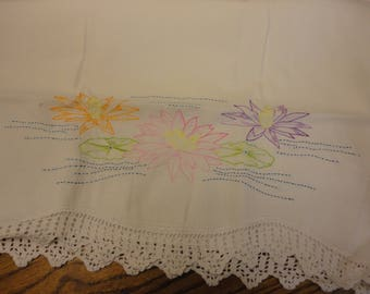 Vintage Pillowcase with water lilies